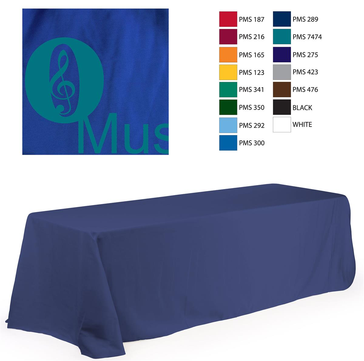 8\' Table Cloth, Round Corners, with Custom 1 Color Imprint.