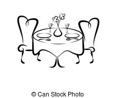 Decorative table setting clipart.