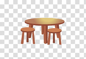 Movables, round brown table and two stools illustration.