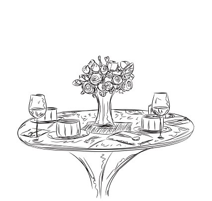 Vector illustration of a romantic table for two Clipart.