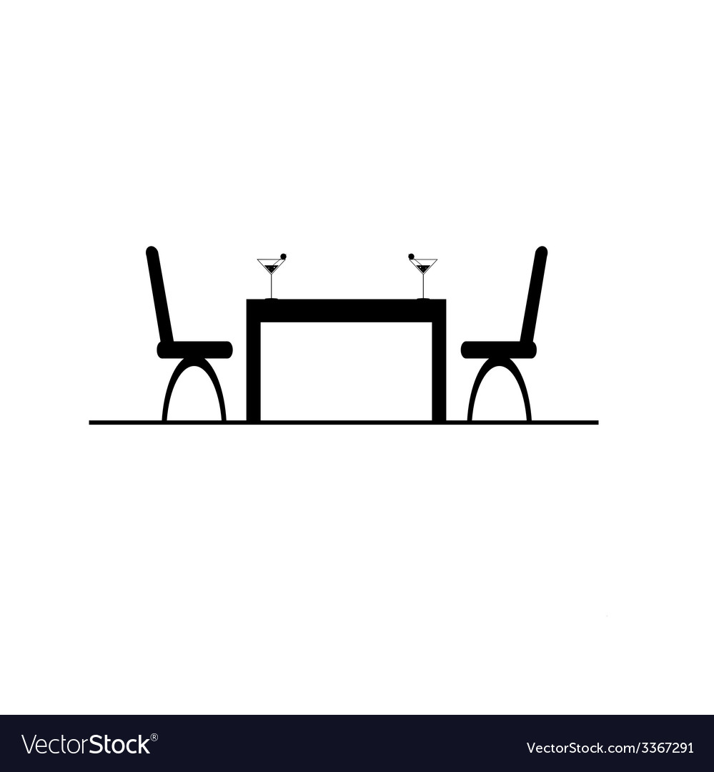 Table with two chair and drink.