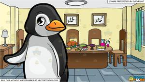 A Cute Little Penguin At The Zoo and A Dining Room Table Full Of Food  Background.