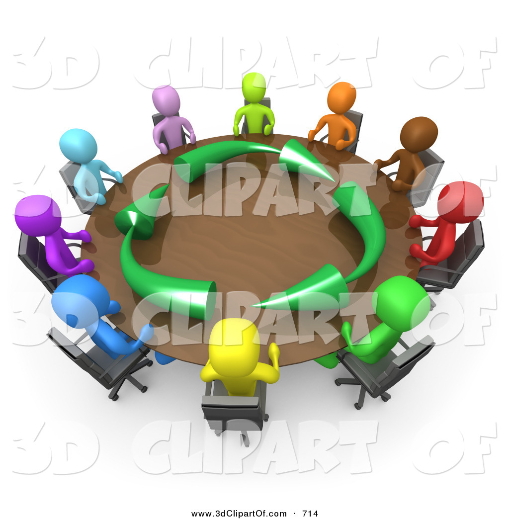 3d Clip Art of a Group of a Diverse and Colorful Group of Ten.