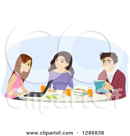 Clipart of a Group of Young Women and a Man Studying at a Table.