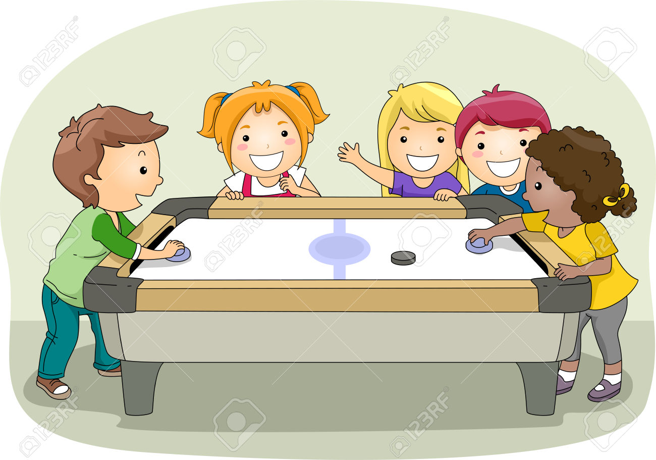 Illustration Of A Group Of Kids Playing Air Hockey Stock Photo.