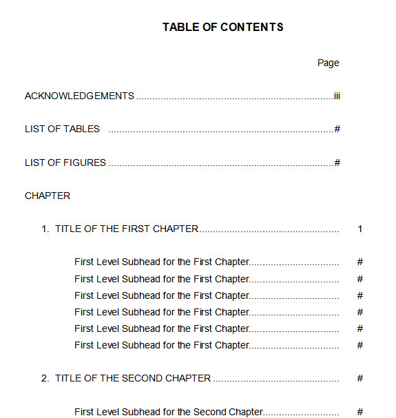 10 Best Table of Contents Templates for Microsoft Word.