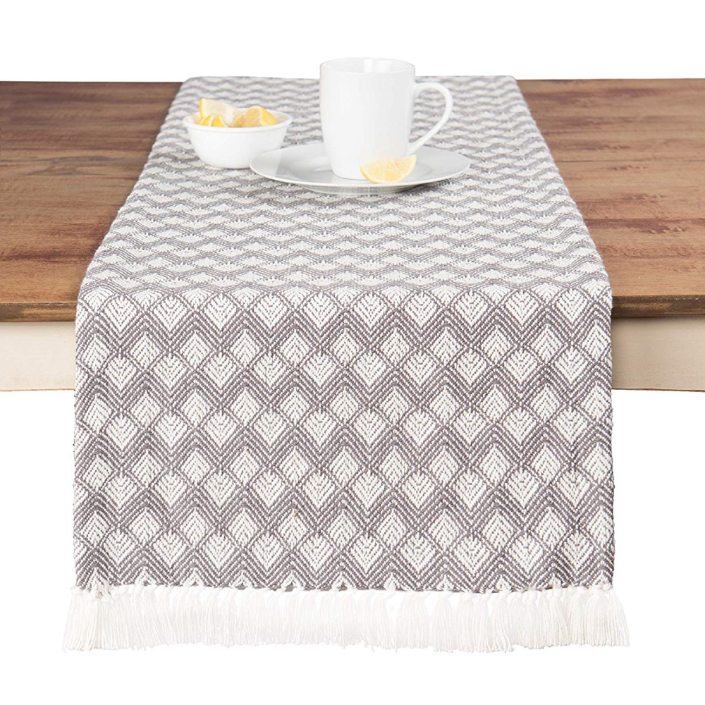 Sticky Toffee Cotton Woven Table Runner with Fringe, 14 in x 72 in.