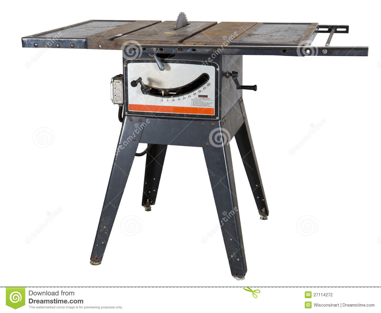 Old Woodworking Table Saw Isolated Stock Photography.
