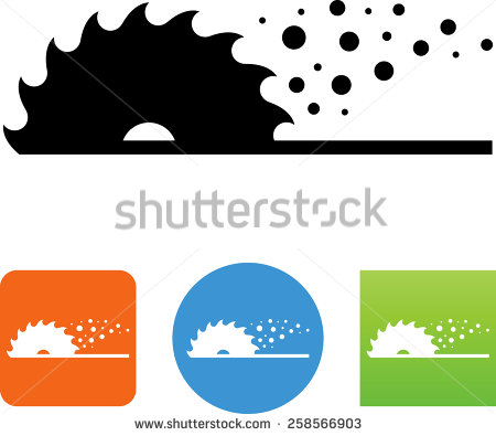Table Saw Blade Cutting A Board Clipart.