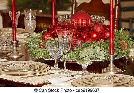 Stock Images of Christmas Dinner Table.