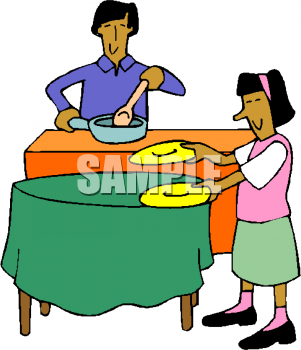 Setting the table clipart.
