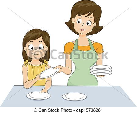 Kids set table clipart.