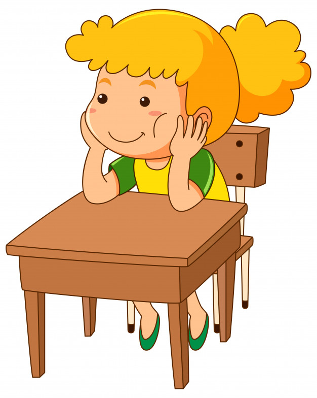 Girl sitting on wooden desk.