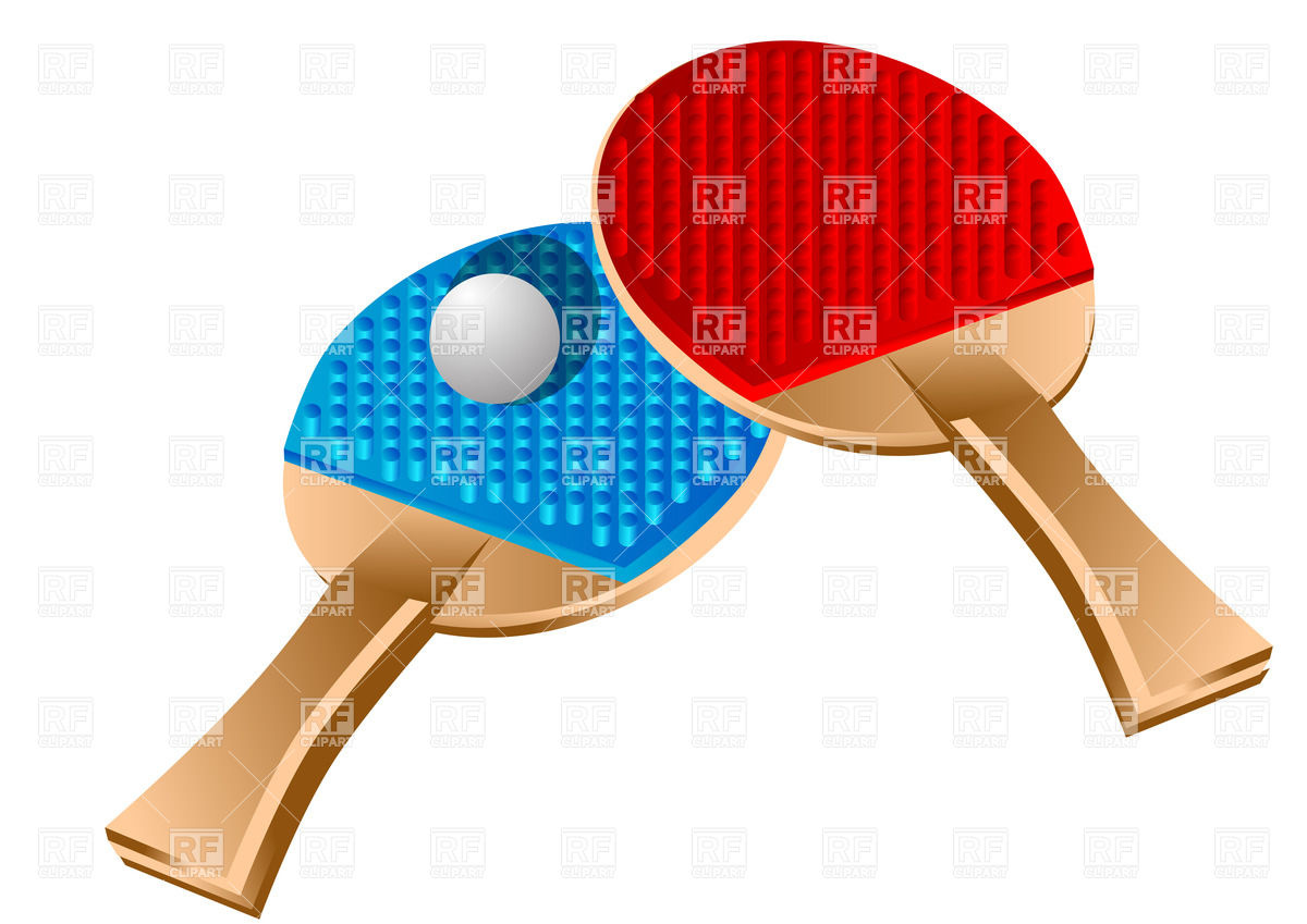 Table tennis rackets and ball Vector Image #25549.