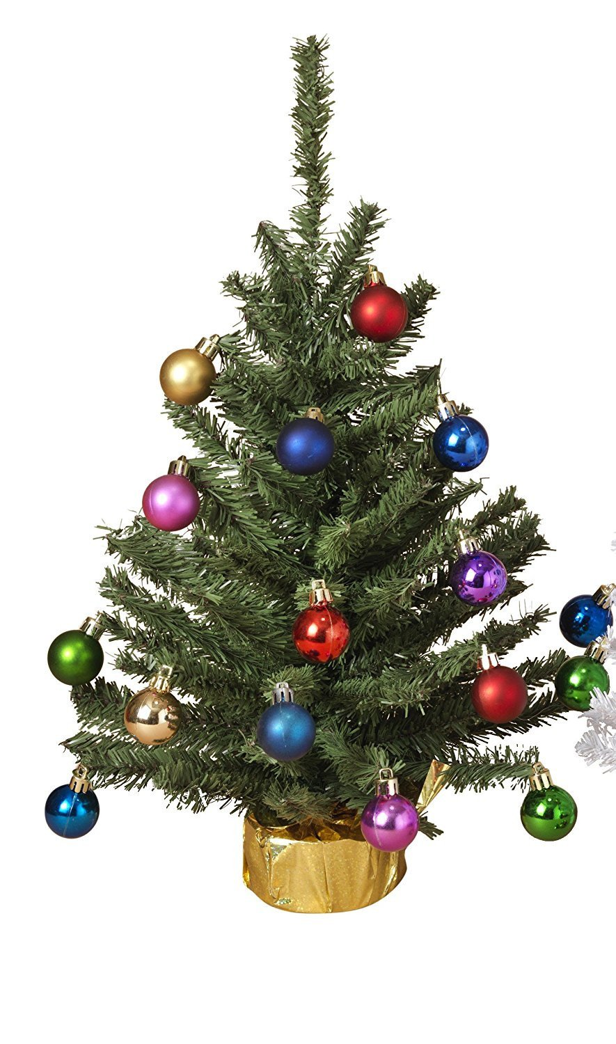 Small Tabletop Christmas Tree with Ornaments Holiday.