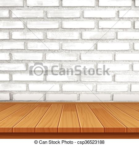 Vector of vector wood table top on brick wall background.