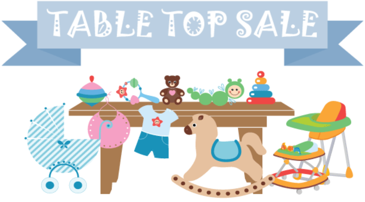 Fundraising clipart table top sale, Fundraising table top.