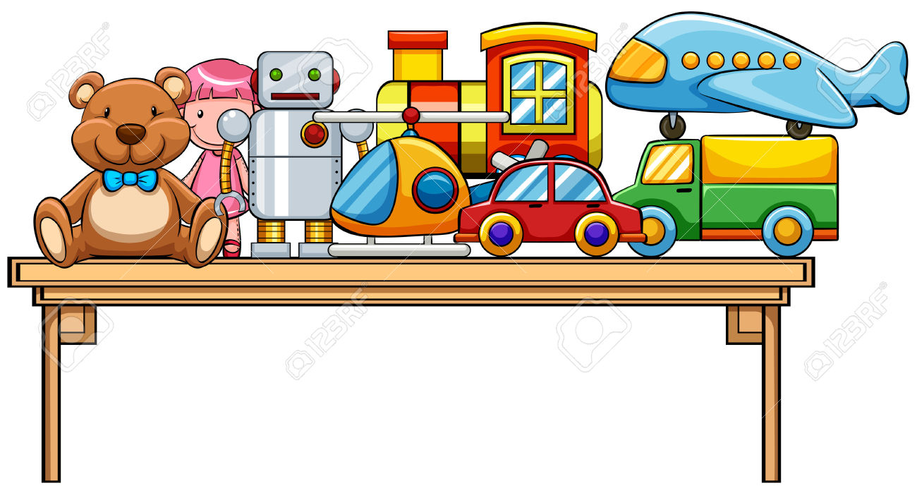 Different Kind Of Toys On The Table Royalty Free Cliparts, Vectors.