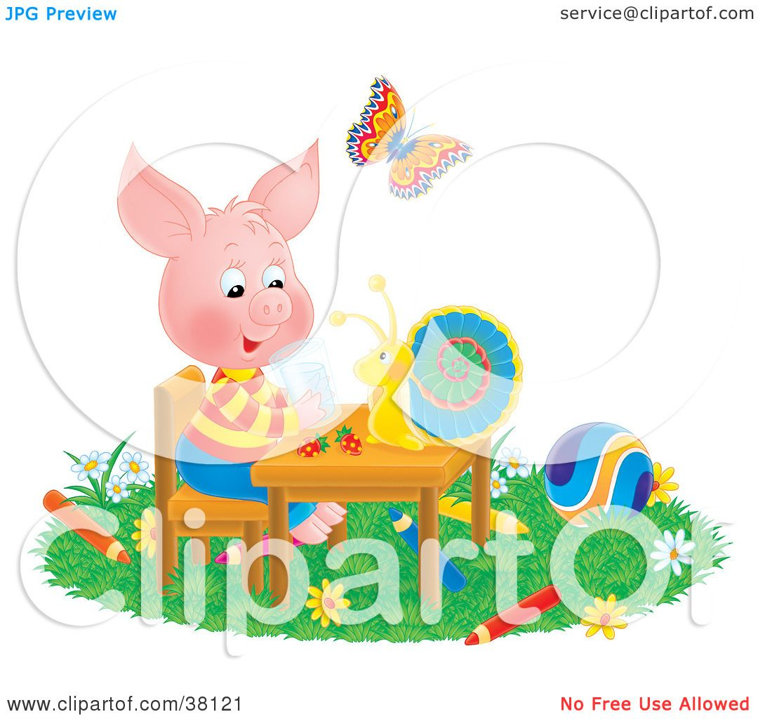 Clipart Illustration of a Butterfly Watching A Snail Chat With A.