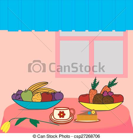 Vector Clipart of Table with food.