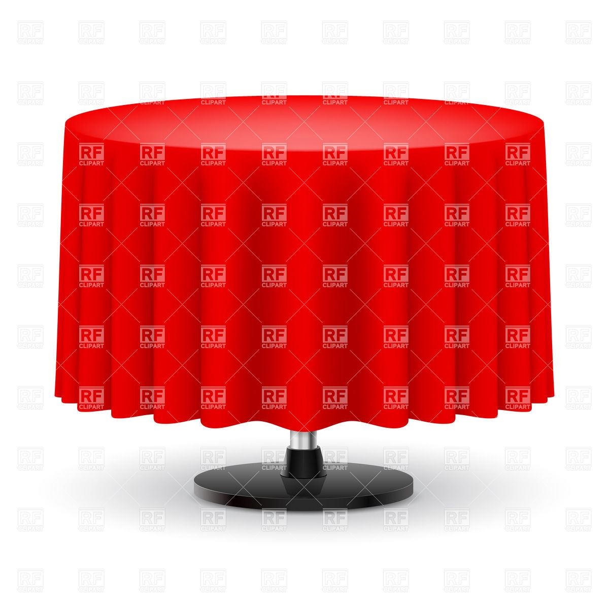 Classic round table with long red table cloth Vector Image #30910.