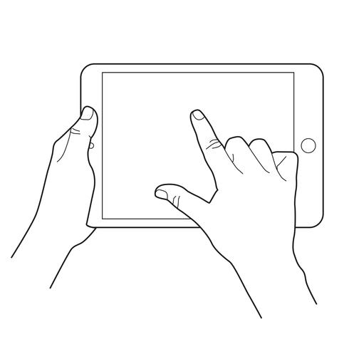 Sketch of hand holding a tablet and finger touching blank.