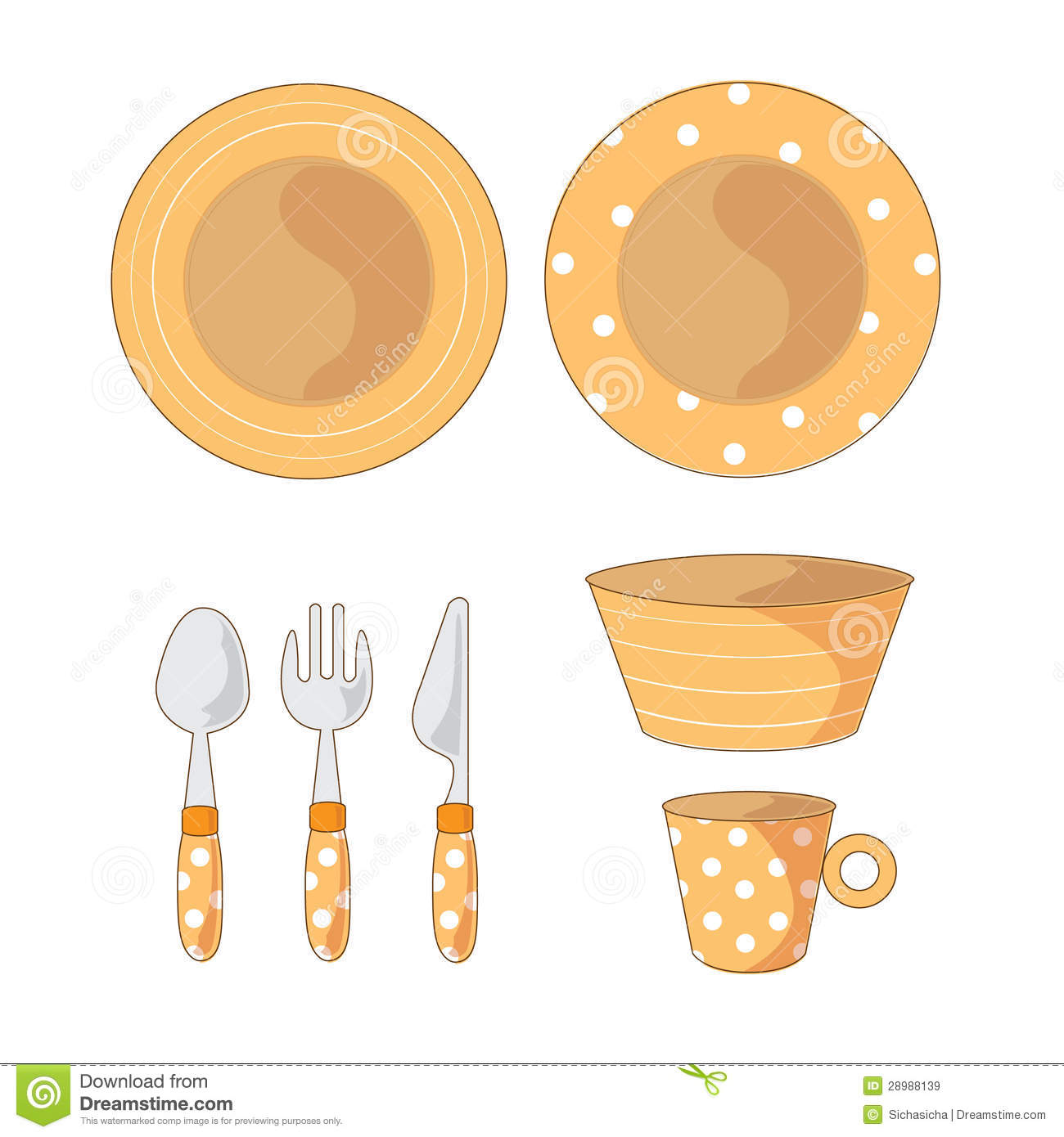 Tableware Objects Cartoon Illustration Royalty Free Stock Images.