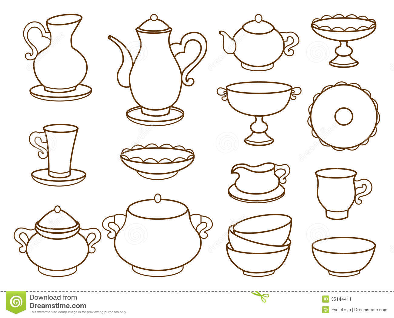 Collection Of Porcelain Tableware For Tea Stock Image.