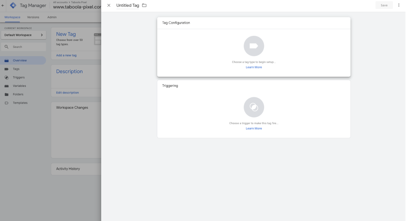 Implementing the Taboola Pixel Template for Google Tag.