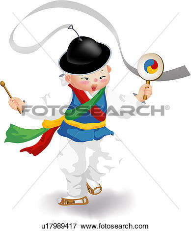 Stock Illustration of people, tabor, percussion, musical.
