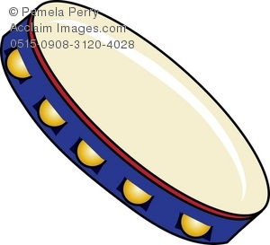 Clip Art Illustration of a Tambourine.