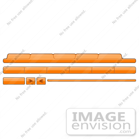 Clip Art Graphic of Orange Web Design Tabs And Elements.