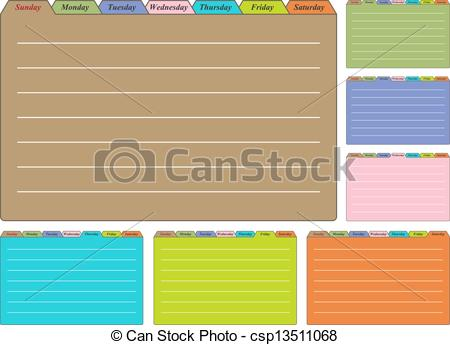 Clip Art Vector of Seven Calendar Sheets with Tabs for Each Days.