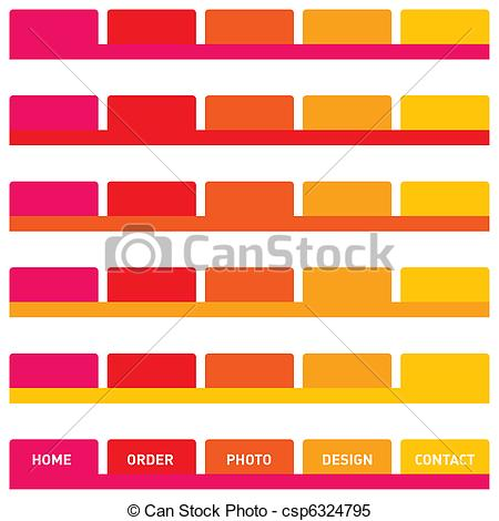 Stock Illustrations of Web buttons or tabs in pink, red, orange.