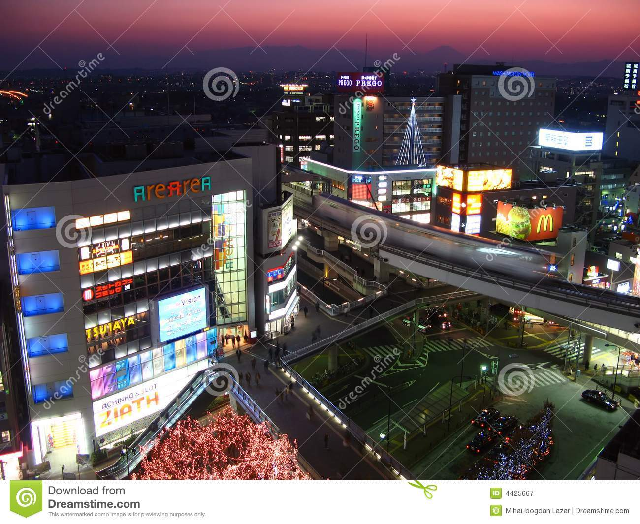 Tachikawa At Twilight, Tokyo, Japan Editorial Photography.
