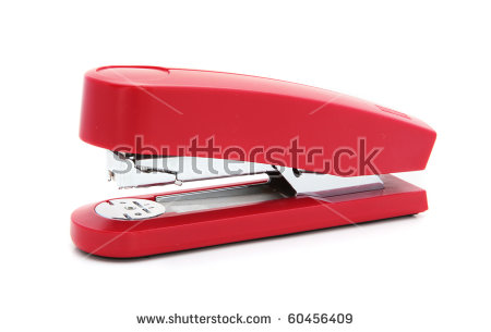 Red Stapler Stock Photos, Royalty.