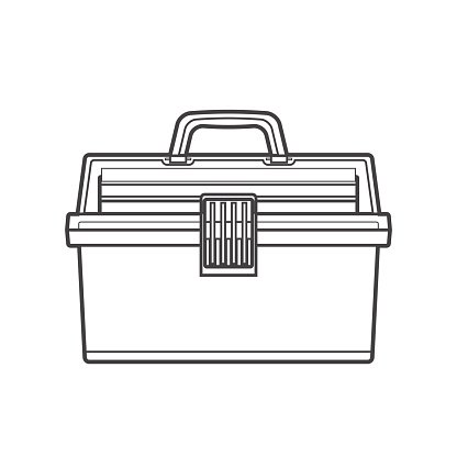 Outline Fishing Tackle Box Illustration premium clipart.