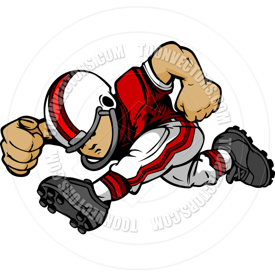 Football player tackling color clipart.