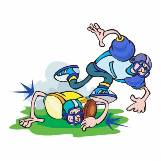 funny football tackle cartoon.
