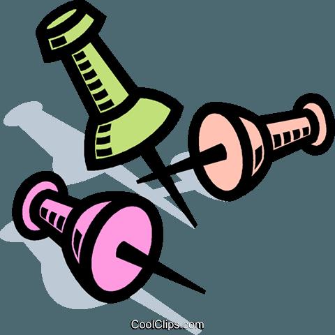 Thumb tack, tacks Royalty Free Vector Clip Art illustration.