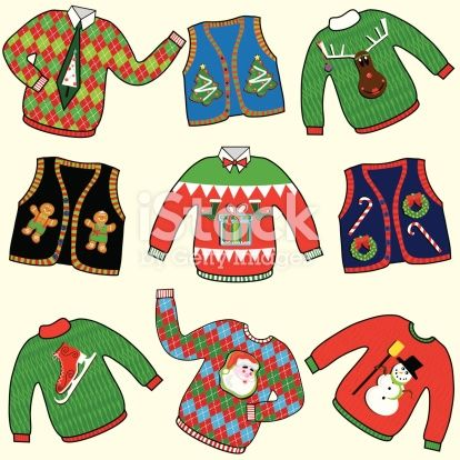 Dare to wear ugly Christmas Sweaters clipart. Great for your.