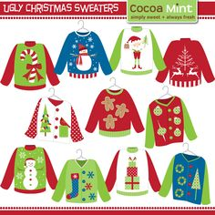 75% SALE Ugly Sweater ClipArt, Christmas ClipArt, Digital Graphics.