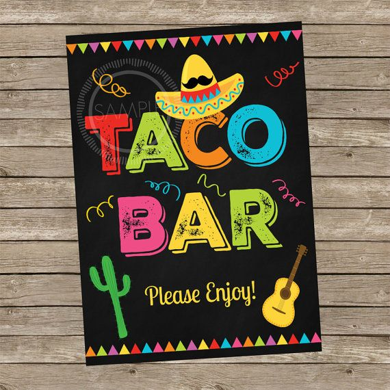 5x7 Printable Taco Bar / Fiesta / Cinco De Mayo / Nacho Bar.