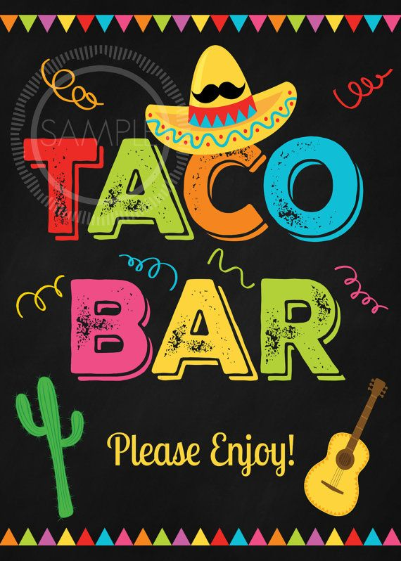 5x7 Printable Taco Bar / Fiesta / Cinco De Mayo / Nacho Bar.