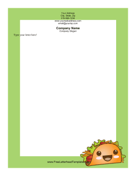 This printable food letterhead has a green border and a.