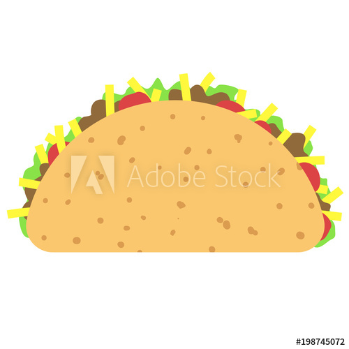 Taco clipart isolated on white background.