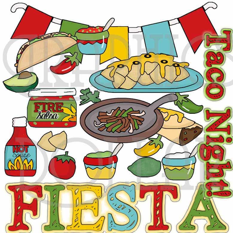 Taco Night Fiesta Clip Art.