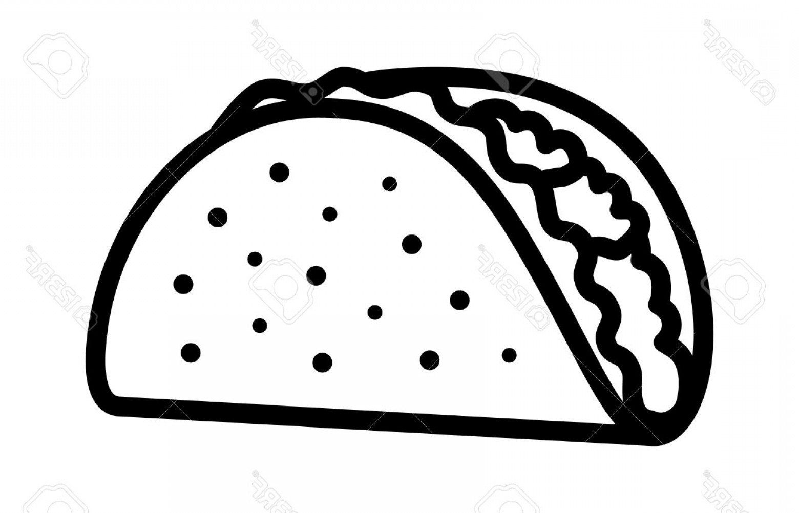 Photostock Vector Taco With Tortilla Shell Mexican Lunch.