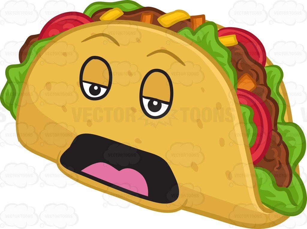 A sleepy and bored hard shell taco snack #cartoon #clipart.