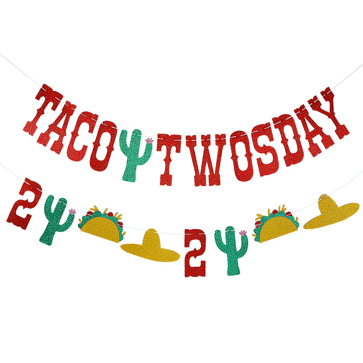 Red Glittery Taco Twosday Banner.
